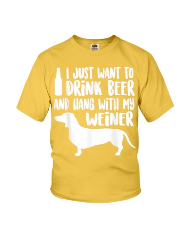Weiner Dog Tshirt Drink Beer Hang With My Weiner