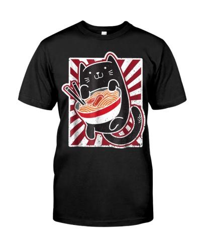 Kawaii Japanese Anime Cat Ramen T Shirt
