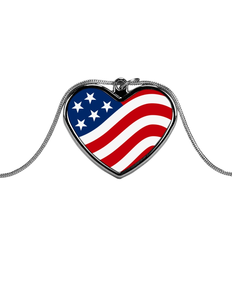 Patriotic USA Flag Heart Necklace Metallic Heart Necklace