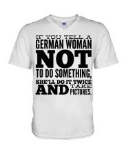 GERMAN WOMAN FUNNY V-Neck T-Shirt thumbnail