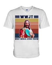 What would Jesus throw V-Neck T-Shirt thumbnail