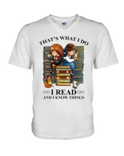 I read and i know things V-Neck T-Shirt thumbnail
