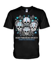 Diabetes skull V-Neck T-Shirt thumbnail