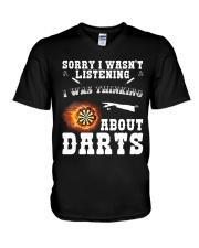 I was thinking about darts V-Neck T-Shirt thumbnail