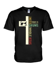 All i need is drum and Jesus V-Neck T-Shirt thumbnail