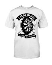 I play darts so i dont choke people Premium Fit Mens Tee thumbnail