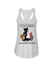 Never underestimate cat mom with a teaching degree Ladies Flowy Tank thumbnail