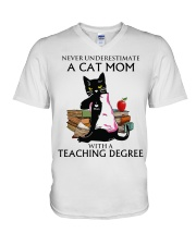 Never underestimate cat mom with a teaching degree V-Neck T-Shirt thumbnail