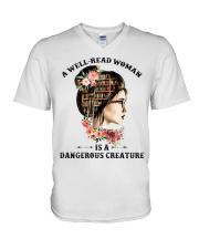 A well-read woman V-Neck T-Shirt thumbnail