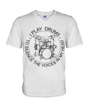 I play drum to silence the voice in my heart V-Neck T-Shirt thumbnail