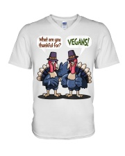 Vegan thankful V-Neck T-Shirt thumbnail