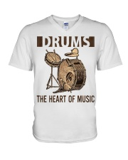 Drums the heart of music V-Neck T-Shirt thumbnail