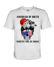 Country girl by choice V-Neck T-Shirt tile