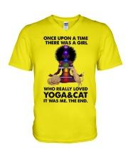 Yoga and cat V-Neck T-Shirt thumbnail