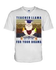 Teacher LLama V-Neck T-Shirt thumbnail