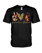 Peace love Melanin V-Neck T-Shirt thumbnail