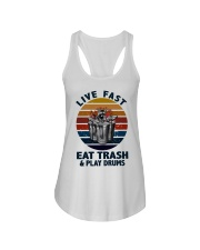 Live fast eat trash and play drums Ladies Flowy Tank thumbnail