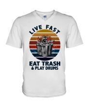 Live fast eat trash and play drums V-Neck T-Shirt thumbnail