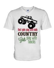 Country girls play with Trucks V-Neck T-Shirt thumbnail