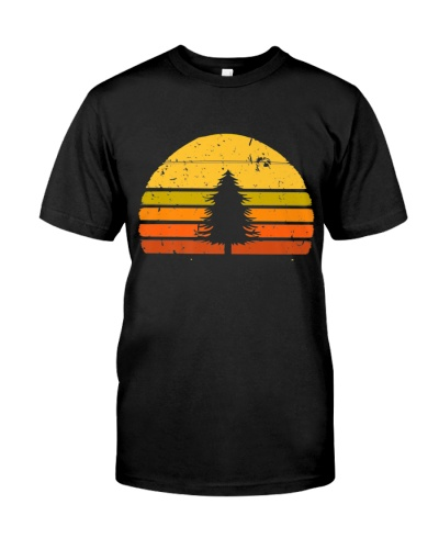 Retro Sunset Pine Tree Lovers Nature Camping