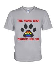 Lgbt Pride Mama Bear Protects Her Cub V-Neck T-Shirt thumbnail