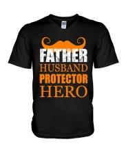 Fathers Day 2018 Father Husband Hero V-Neck T-Shirt thumbnail