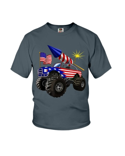 4th of July Monster Truck American Flag Funny