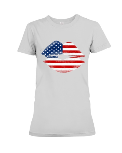 American Flag Patriotic Lip Independence Day