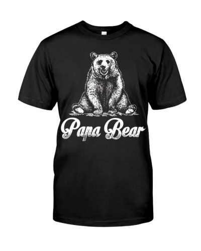 Mens Papa Bear T  Fathers Day Gift For Dad