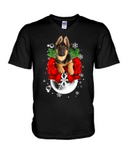 German Shepherd Christmas V-Neck T-Shirt thumbnail