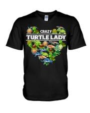 Crazy Turtle Lady V-Neck T-Shirt thumbnail