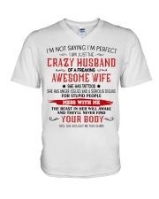 Crazy Husband V-Neck T-Shirt thumbnail