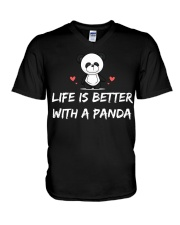 Life is better with a panda V-Neck T-Shirt thumbnail