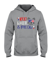 Red white and meow Hooded Sweatshirt thumbnail