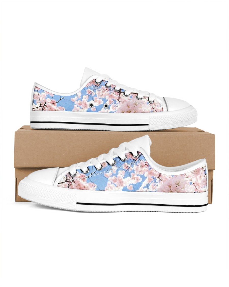 Cherry Blossom Women's Low Top White Shoes