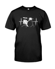 DRUM HEARTBEAT WE LOVE DRUMS MUSIC GIFT FOR DRUMME Classic T-Shirt front