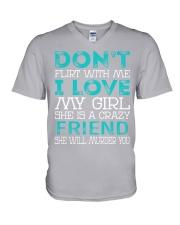 Friend - Dont Flirt Job Title V-Neck T-Shirt thumbnail