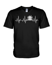 Heartbeat Drummer Drums Drumsticks Drumming funny  V-Neck T-Shirt thumbnail