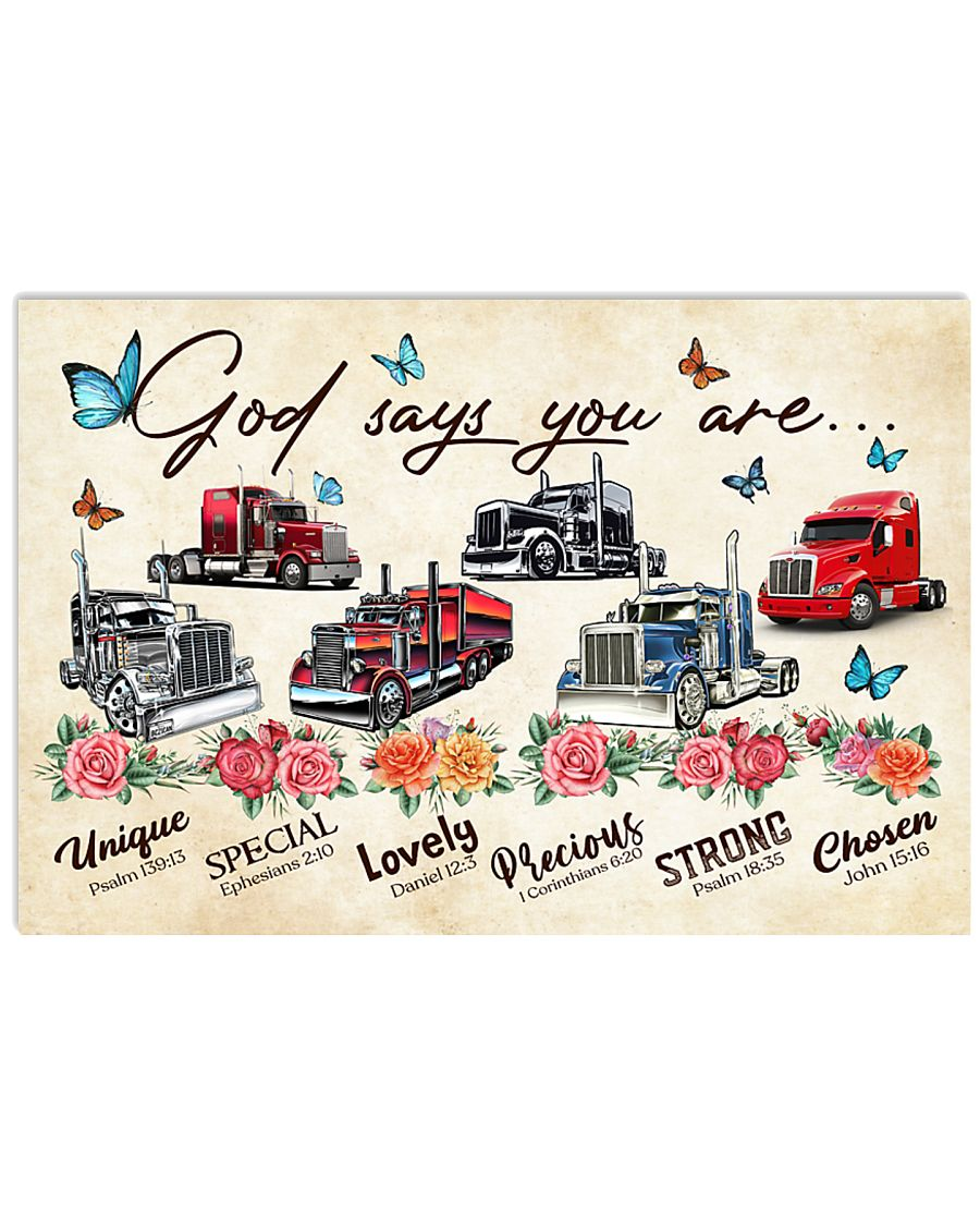 Trucker God says you are 36x24 Poster