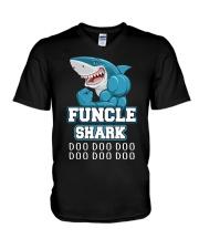 Funcle Shark Doo Doo Doo  V-Neck T-Shirt thumbnail