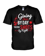 Nurse Shots by day V-Neck T-Shirt thumbnail