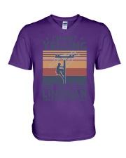 Lineman Yelling V-Neck T-Shirt thumbnail