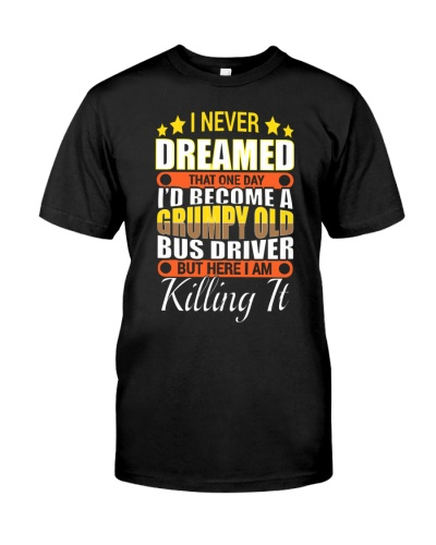 Grumpy old lady and men bus drivers