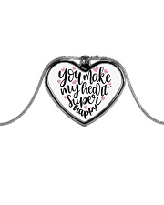 You Make My Heart Super Happy - Valentines Day Metallic Heart Necklace front