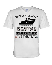 Boat Weekend Forecast V-Neck T-Shirt tile