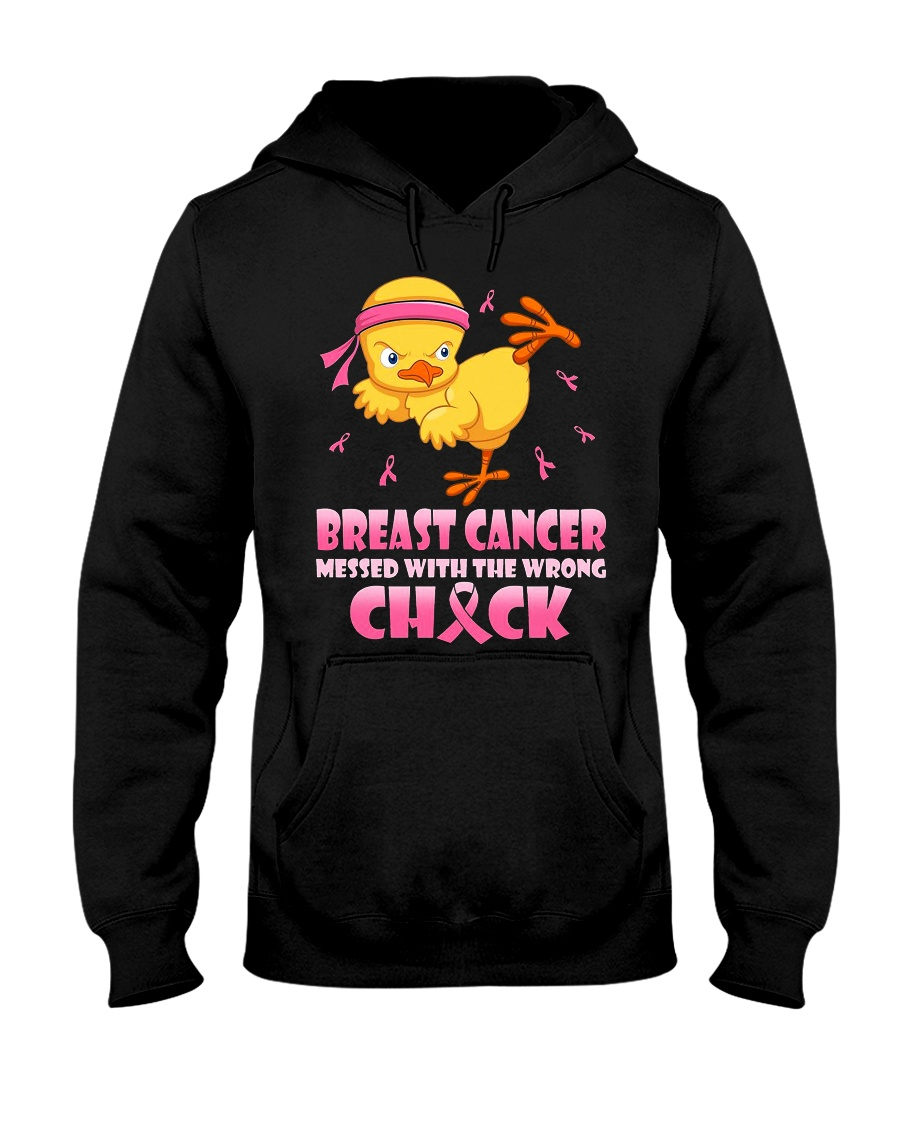 Breast cancer Mess With The Wrong Chick Hooded Sweatshirt