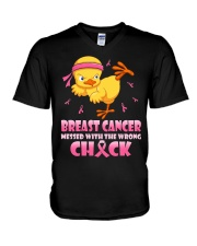 Breast cancer Mess With The Wrong Chick V-Neck T-Shirt thumbnail