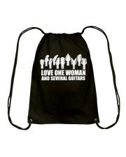 love one woman and several guitars Drawstring Bag thumbnail
