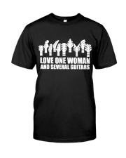 love one woman and several guitars Classic T-Shirt thumbnail