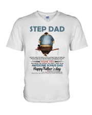 Happy Father's Day - Best gift for stepdad V-Neck T-Shirt tile